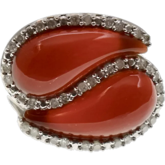 Signed 10K White Gold Yin Yang Style Carnelian & 0.50 TCW Diamond Cocktail Statement Ring w/ GIA Appraisal - Size 7