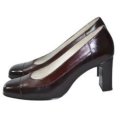 Ricaly Colombian Designer Quality Chocolate Brown Two Tone Leather High Heel Shoes