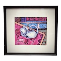 """Artist Tony Cacalano Signed & Numbered """"Sleepy Cat"""" Color Art Print in Wood Frame"""