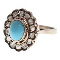 Victorian Era Persian Turquoise & 0.65 tcw Diamond Sterling Silver & Yellow Gold Ring w/ GIA Appraisal - Size 8