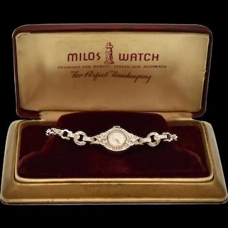 Art Deco Milos 14K White Gold & 0.39 tcw VS Diamond Ladies' Dress Wristwatch w/ Original Watch Box