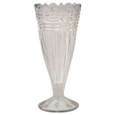 Early American Pressed Glass Beaded & Fluted Panel w/ Scalloped Rim Trumpet Vase