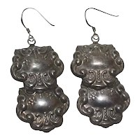 Large Sterling Silver Victorian Revival Luggage Tag Style Repousse Dangle Earrings