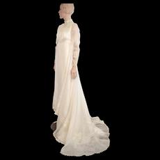 Sultry Mid-Century Bridal Formals White Irish Lace Crochet Bodice & Trim Wedding Gown w/ Train