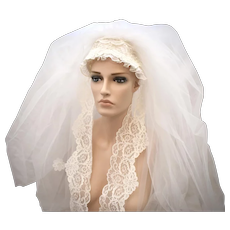 Extraordinary Art Deco Irish Lace & Faux White Pearl Beaded Triple Tier Waltz Length Bridal Veil