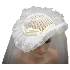 White Faux Pearl, Rhinestone & Lace Upturned Brim Wedding or Bridal Hat with Fingertip Length Netted Veil