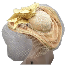 Seriously Over the Top Metallic Gold Floral Lace Netted Veil Wide Brim Hat by Designer Just For Her