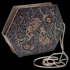 Hashimoto Designer Cabochon Jeweled & Beaded Black & Gray Satin Clutch Purse w/ Optional Snake Chain Shoulder Strap