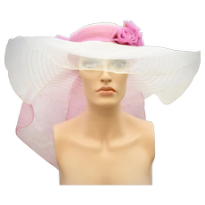 c1970s Sheer White & Fuchsia Pink Chiffon Rosette Extra Wide Brim Summer Breeze Hat