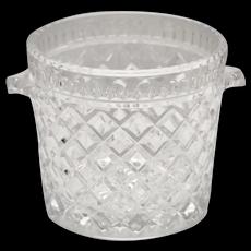 Heavy Lead Crystal Glass Diamond Cut Small Double Handle Ice Bucket