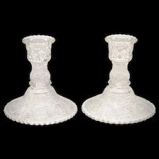 Duncan & Miller Pair of Clear Sandwich Glass Scalloped Rim Candlesticks