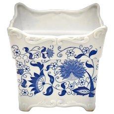 "Blue Onion Transferware 5 x 5"" Square White Glazed Ceramic Planter"