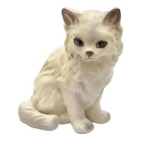 """c1950s Hand Painted 4"""" Long Haired White Matte Porcelain Cat Figurine"""