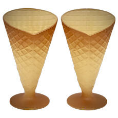 Pair of Italian Ice Cream Parfait / Sundae Fired-On Painted Waffle Cone Figural Bowl Dishes