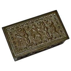 Victorian Era Ornate Repousse & Chased Brass Cherub Motif Postage Stamp Box