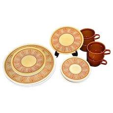"16-Piece Taylor Smith & Taylor ""Honey Gold"" Pattern Onion Motif Stoneware Dinnerware Set"
