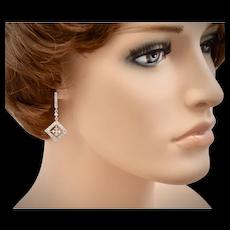 10K White Gold 1.25 tcw Diamond Dangle Screw Post Pierced Earrings w/ GIA Appraisal