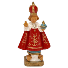 c1960s Italy Made Infant of Prague Religious Jesus Icon Statue