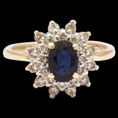 14K Gold Blue Sapphire & 0.50 tcw Diamond Halo Cocktail Ring w/ GIA Appraisal - Size 6.75