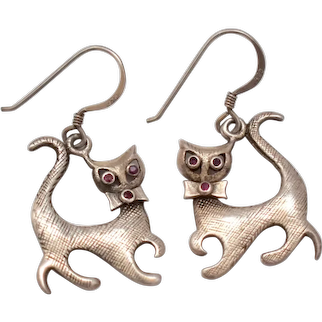 Sterling Silver Modernist Style Sassy Cat w/ Genuine Ruby Eyes Figural Dangle Earrings