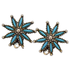 c1970s Zuni Style Blue Glass Turquoise Petit Point Clip Earrings