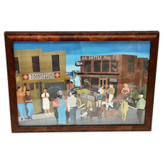 Retired Kenneth Woodall Old Georgia Town w/ Ford Building & City Cafe Americana Folk Art Color Print in Burl Wood Frame
