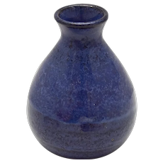 Artisan DAY Handcrafted Small Cobalt Blue Bottle Style Clay Pottery Vase