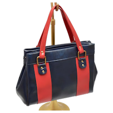 "Mid-Century ""Tennessee"" Brand Large Navy Blue & Red Striped Faux Leather / Vegan Vinyl Handbag / Purse"