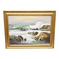 """c1978 Artist Signed Large 28 x 22"""" Cubist Ocean Waves Landscape / Waterscape Oil Canvas Painting in Gold Wood Frame"""