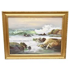 """c1978 Artist Signed Large 28 x 22"""" Cubism Ocean Waves Landscape / Waterscape Oil Canvas Painting in Gold Wood Frame"""