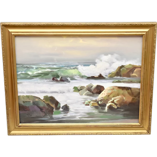 "c1978 Artist Signed Large 28 x 22"" Cubist Ocean Waves Landscape / Waterscape Oil Canvas Painting in Gold Wood Frame"