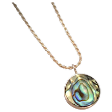 Sterling Silver & Iridescent Abalone Shell Round Bezel Set Pendant