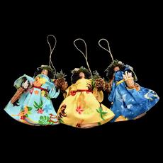 "Set of 3 ""Muu Muu Maui"" Signed Hawaiian Style Angel w/ Real Seashell Accent Christmas Ornaments"