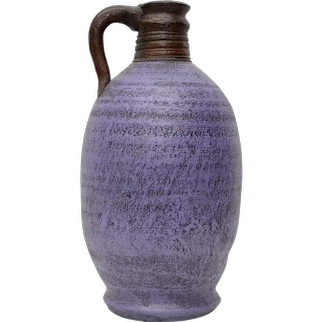 Mexican Artisan Handcrafted Purple Painted Clay Pottery Jug or Vase Vessel