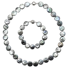 Sterling Silver & Iridescent Blue Dyed Freshwater Coin Pearl Interchangeable Necklace & Bracelet Set