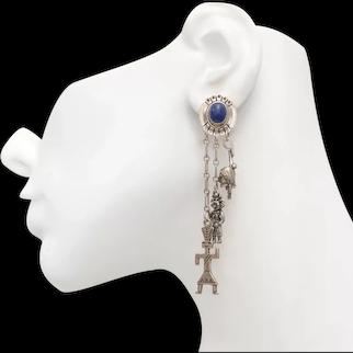 Large STC Sterling Silver Lapis Lazuli Cabochon w/ Native American, Kachina Dangle Charm Earrings