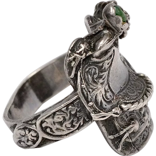 Sterling Silver Old Green Turquoise Southwestern Style Figural Western Saddle Ring ~ Size 9.5