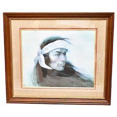 """Artist Gregory Perillo Signed/Numbered Limited Edition 28 x 26"""" Native American Indian """"Tinker"""" Portrait Art Lithograph w/ COA - Beautifully Framed"""