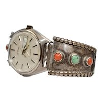 c1960s Sterling Silver Turquoise & Coral Southwestern Style Watch w/ LeGran Watch Face - Works!