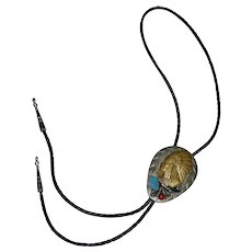 Sterling Silver & Applied Brass Native American Indian Turquoise & Coral Southwestern Black Leather Bolo Tie