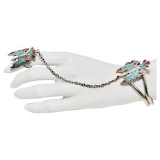 c1985 Signed G & S Crushed Turquoise & Coral Thunderbird Silver Plate over Stainless Steel Slave Cuff Bracelet and Ring