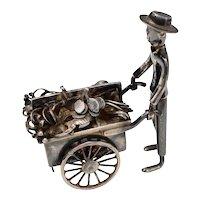 Sterling Silver Street Vendor Pushing Fruit & Vegetable Cart w/ Moving Wheels Miniature Figurine