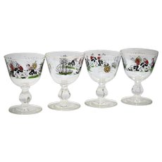 c1950s Set of 4 Libbey Glass Treasure Island Cordial Liquor Cocktail Pirate Inspired Glasses