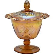 Indiana Glass Marigold Iridescent Harvest Grape Lace Edge Candy Dish or Compote w/ Lid