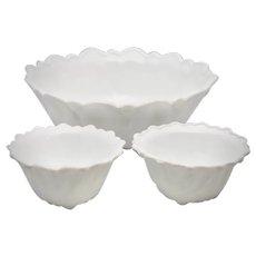 c1960s Indiana Glass Wild Rose Milk Glass Serving Bowl & Fruit  / Berry Bowl Set