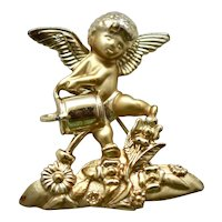 AJC Signed Large Cherub w/ Watering Can & Flowers Figural Brooch / Pin