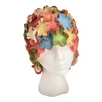 c1960s Colorful Flower Rubber Swim Cap w/ Mannequin Head for Display