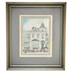 Bonnie Holden Artist Signed Victorian Style House w/ Hand Painted Detail Small Art Print in Frame