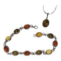 Sterling Silver Cognac, Green & Butterscotch Genuine Amber Link Bracelet w/ Matching Oval Pendant Set