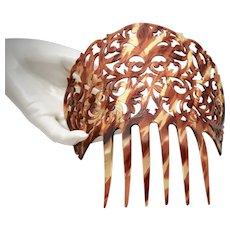 Mid-Century Huge Faux Tortoise Shell Spanish Style Filigree Mantilla Hair Comb